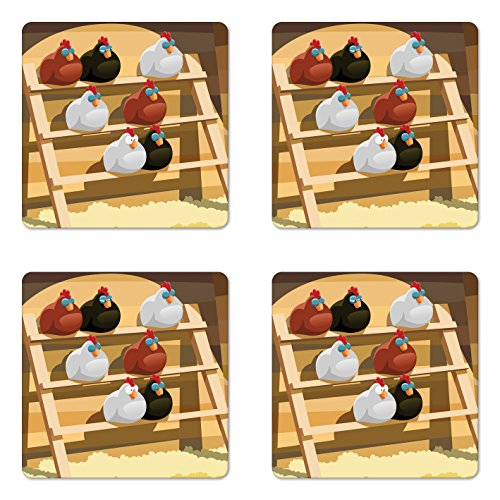 - Lunarable Chicken Coaster Set of Four, A Group of Hen Sleeping on a Perch in a Farm Colorful Doodle Style Animal Design, Square Hardboard Gloss Coasters for Drinks, Multicolor