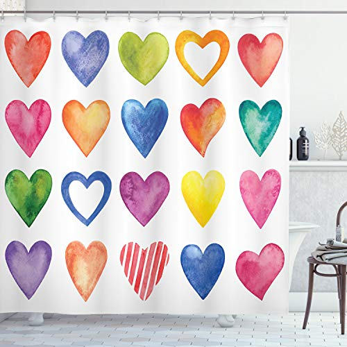 Heart Shower Curtain (Ambesonne Grunge Shower Curtain, Rainbow Color Heart Shapes Valentine's Day Design Romantic His and Hers Theme, Cloth Fabric Bathroom Decor Set with Hooks, 70