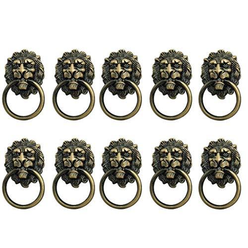 10x Vintage Lion Handles Decorative Lion Head Knob Dresser Drawer Door Pull