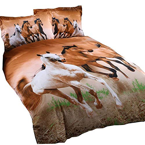 HomeBlove 3D Horse Print Duvet Cover Sets Twin/Full/Queen 4-Piece, 1 Duvet Cover, 1 Flat Sheet, 2 Pillowcases, No Comforter (Hose Twin)