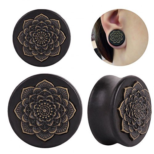 IPINK -Vintage Wood Inlayed Copper Flower Ear Plugs for sale  Delivered anywhere in USA
