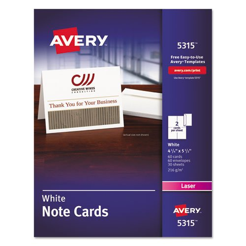 ~:~ AVERY-DENNISON ~:~ Printer Compatible Cards, 4-1/4 x 5-1/2, 2 per Sheet, 60 per Box with Envelopes