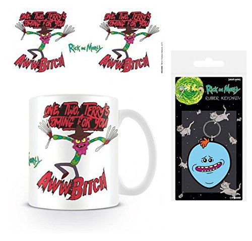 Set: Rick and Morty, Scary Terry, One, Two, Terry's Coming for You Photo Coffee Mug (4x3 inches) and 1 Rick and Morty, Keychain Keyring for Fans (2x2 inches) (Rick And Morty Nightmare On Elm Street)