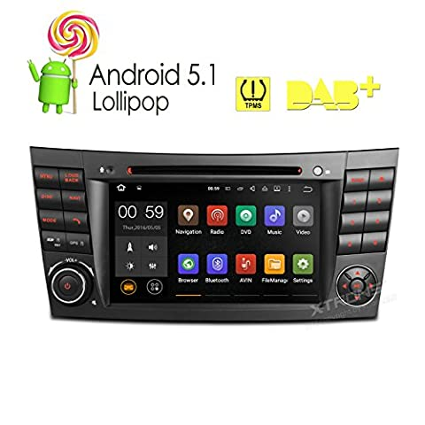 XTRONS 7 Inch Quad Core Android 5.1 Lollipop Car Stereo Capacitive Touch Screen DVD Player Screen Mirroring OBD2 Built-in DAB+ Tuner Tire Pressure Monitoring for Mercedez-Benz E-Class (Dab Car Audio)