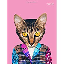 2019: Cat in Sweater | 2019 Weekly Monthly Planner and Journal with Inspirational Quotes, Goal Trackers + To Do Lists
