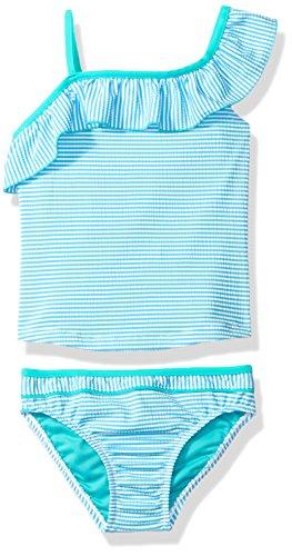 Tommy Bahama Little Girls' One Shoulder Striped Two Piece Bikini, Blue, (Bahama Bikini Top)