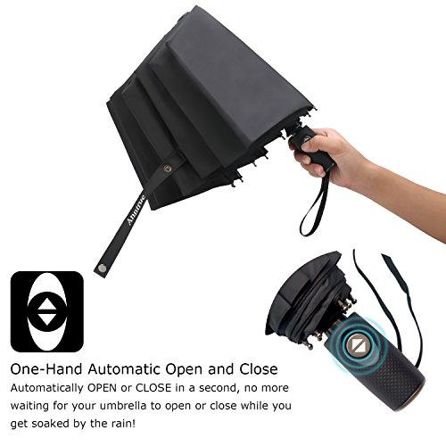 Anntrue Travel Umbrella Windproof, Auto Open Close Compact Umbrellas for Women and Men Teflon Coating with 10 Rib Construction, Zipper Pouch (Black)