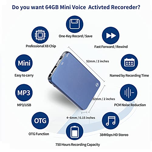 64GB Mini Voice Activated Recorder, Vormooi Professional Audio Recorder with 50 Hours Battrey Time and 750 Hours Recording Capacity, Small Recording Device for Lecture Interview Meeting Class