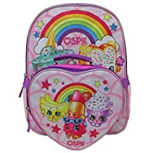 Delightful 16in Shopkins Backpack with Heart Shaped Insulated Lunch Kit