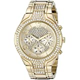 GUESS Women's U0628L2 Oversized Gold-Tone Multi-Function Watch with Genuine Crystals