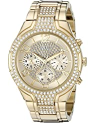 GUESS Womens Stainless Steel Crystal Accented Bracelet Watch, Color: Gold-Tone (Model: U0628L2)