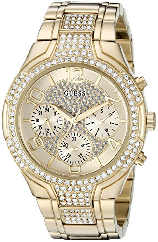 GUESS Women's U0628L2 Sporty Gold-Tone Watch with Champagne Dial , Crystal-Accented Bezel and Stainless Steel Pilot Buckle