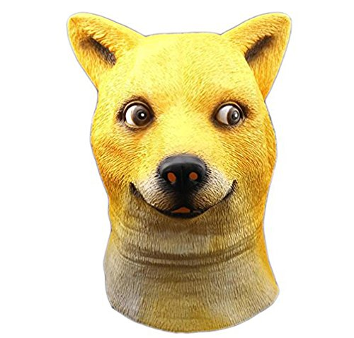 [Fashionclubs Halloween Costume Party Latex Doge Head Mask Full Head,Carnival Fancy Dress Up] (Carnival Mask Costume)
