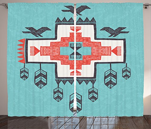 "Ambesonne Tribal Curtains, Hand Drawn Dreamcathcher Folkloric Birds Image, Living Room Bedroom Window Drapes 2 Panel Set, 108"" X 84"", Teal Coral"