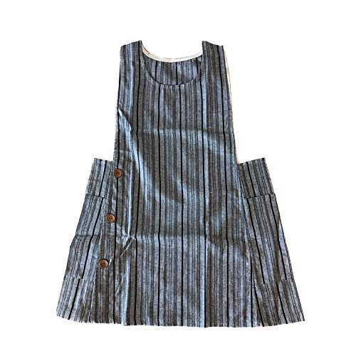 New Cozymomdeco Housewarming Chef Apron Gift for Women Side Button Cotton Apron-grey Stripe Color