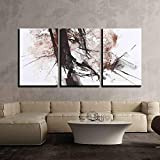 wall26 - 3 Piece Canvas Wall Art - Black and Red Abstract Brush Painting - Modern Home Decor Stretched and Framed Ready to Hang - 24''x36''x3 Panels
