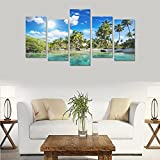 Hotel or Spa Personalized Design Tropical Palm Trees Beach Nature Canvas Print Home Fashion Mural Bedroom Oil Painting Decoration 5 Piece Canvas painting (No Frame)