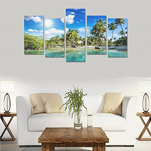 Hotel or Spa Personalized Design Tropical Palm Trees Beach Nature Canvas Print Home Fashion Mural Bedroom Oil Painting Decoration 5 Piece Canvas painting (No Frame) by sentufuzhuang Canvas Printing