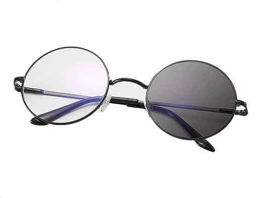 0a0c733481d Retro Round Horn Wild Bifocals Transition Photochromic Reading Glasses  Presbyopia Sunglasses (Black