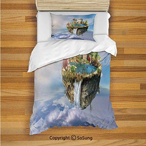 Fantasy Decor Kids Duvet Cover Set Twin Size, Island with Dragon Castle Tower Waterfall and Flipped Mountain is Flying in Space 2 Piece Bedding Set with 1 Pillow Sham,Green Blue