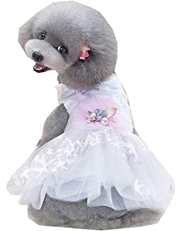 4607cb6f39e Wakeu Small Dog Girl Dress Pet Puppy Lace Tutu Stripe Vest Shirt Clothes