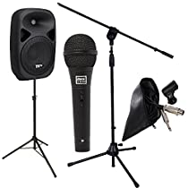 LyxPro Microphone with Speaker, Speaker Stand, Mic Stand and Cable Great for Karaoke. Onboard Equalizer, Bluetooth, SD CARD SLOT, USB, AUX Inputs
