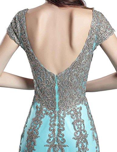 Clearbridal Ärmellos Damen Bodenlange Abendkleider Ballkleid Tüll SLX116 V mit Ausschnitt 556 Blush Träger 0A0nrfH