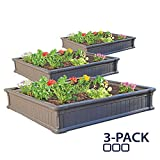 raised garden boxes Lifetime 60069 Raised Garden Bed Kit, 4 by 4 Feet, Pack of 3