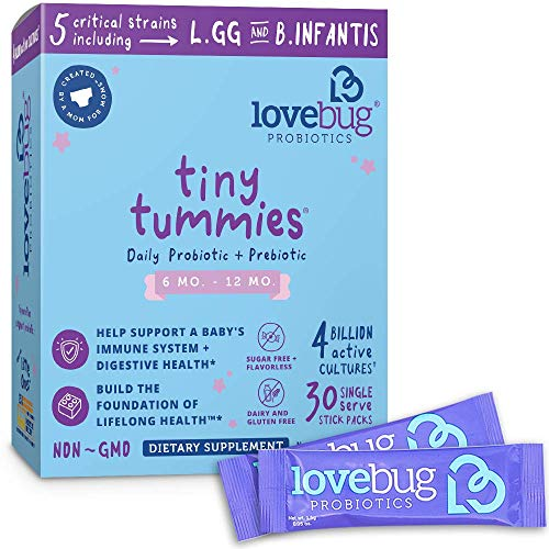 Lovebug Probiotics Tiny Tummies Probiotics, 30 Packets, Infant & Baby Probiotic Supplements for Babies 6-12 Months, Flavorless Powder - Oral Probiotics Kids - Helps Reduce Crying (Best Vitamins For 9 Month Old Baby)