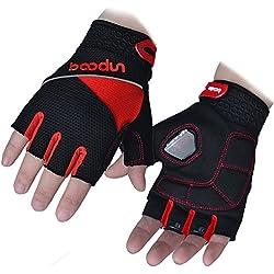 Anser 2140088 Riding Gel Gloves Cycling Gloves Breathable Bike Gloves Sport Gloves (Black Red, M)