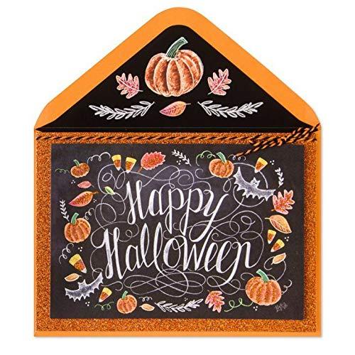 Halloween Greeting Card Lily & Val Chalk Board Glitter Happy Halloween Pumpkins Spooky Day Card -