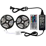 WenTop Led Light Strip Kit DC12V UL Listed Power Supply SMD 5050 32.8 Ft (10M) 300leds RGB Flexible Light Strip 30leds/m with 44 key Ir Controller Kitchen Cabinet, Bedroom,Sitting Room