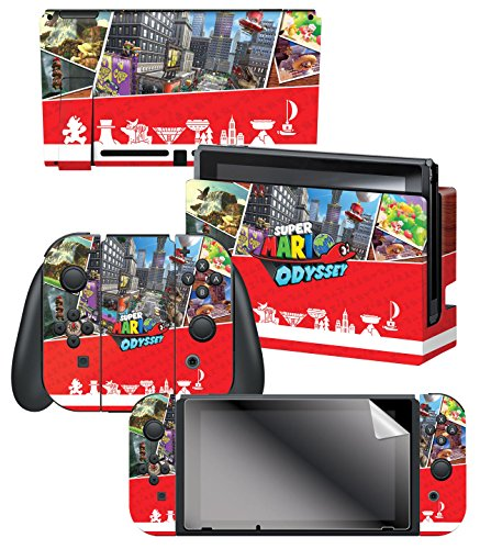 Skin   Screen Protector Set Super Mario Odyssey  Key Art Kingdoms    Nintendo Switch