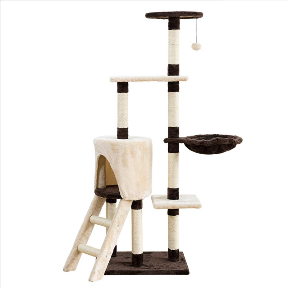 Multi Level Cat Tree Condo Furniture Entertainment Playground Kitte Activityn Play Cat House Bed Pet Kitty Climbing Towerwith Scratching Posts Scratcher Ladder For Cats Kittens Pets by WRLFLY