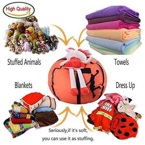 (PPH3 Shine Football Shaped Storage Bag | Stuffed Animal Storage Bean Bag Chairs | Kids Clothes Toy Organizer Baseball Basketball Sports Bag (Basketball, 18)