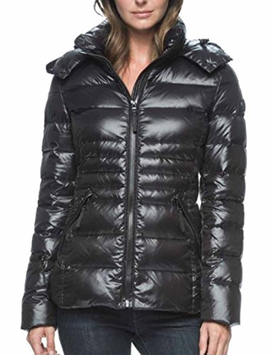 Andrew Marc Hooded Premium Down Jacket for Women (XL, Black)