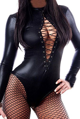 Wonder Pretty Women's Long Sleeve Lace-up Club Bodysuit Leather Teddy Lingerie (XL) (Front Leather Teddy)
