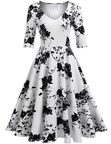 ELESOL Women's Vintage Short Sleeve Swing Dress Floral Print A Line Tea Dress,PW/XXL