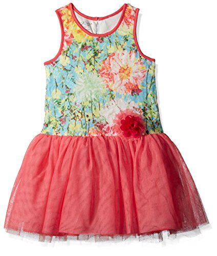 Girls' Drop Waist Tutu Dress, Multi Orange, 3T (Julie Drop)