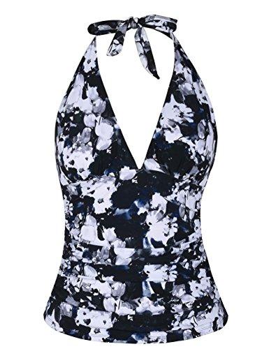 Mycoco Women's Tummy Hide Solid Color Front Tie Back Halter Tankini Top Black Floral 16 ()