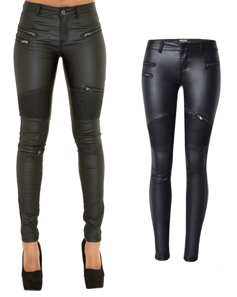 lexiart PU Leather Pants For Women Sexy Tight Stretchy Rider Leggings Black US 6