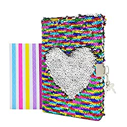 Rainbow to Silver Heart In Sequins Notebook Diary with Lock and Key