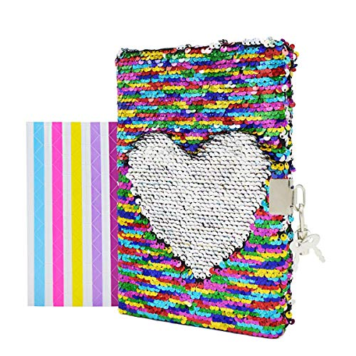 "VIPbuy Magic Reversible Sequin Notebook Diary Lined Travel Journal with Lock and Key for Kids Girls, Size A5 (8.5"" x 5.5""), 78 Sheets, Rainbow to -"