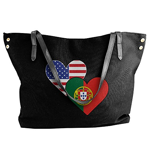 Large Flags Handbag Portugal Messenger Black Canvas Bags Heart Tote Shoulder Women's American 8U45XqwOx