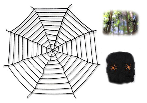 Chogial Giant Spider Web With Super Stretch Cobweb Set  Halloween Decor Decorations Outdoor Yard  Black  10 Feet