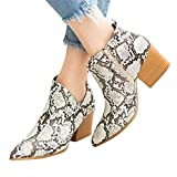 Dainzuy Women Ankle Boots Pointed Toe Low Chunky