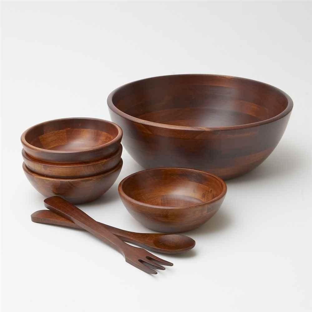 amazoncom 7 pc cherry finish wood salad bowl set with servers kitchen dining - Wooden Salad Bowl Set