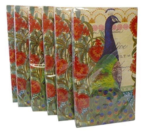 Bulk Buy: Peacock & Flowers Paper Guest Towels / Dinner Napkins. (16) Napkins/Pkg., Pack of (6).