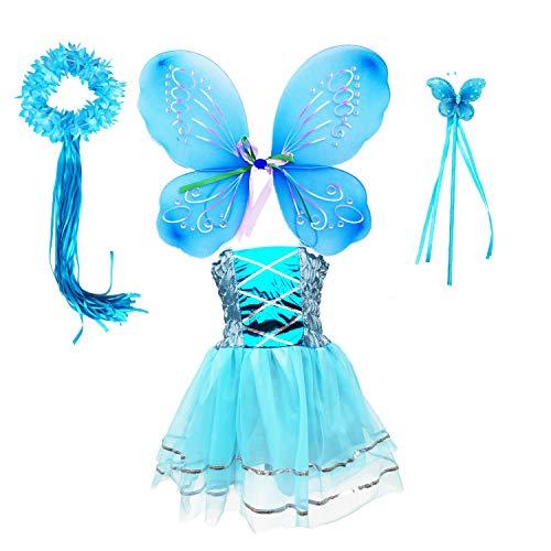 Danballto Fairy Costume for Girls 4 5 6 7 8 Princess Inspired Girls Snow Queen Party Costume Dress (Blue, M) -
