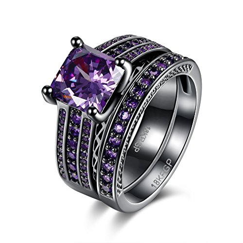 DIMORRY Womens Vintage Temperament Rings Set Square Purple Amethyst Cz Crystal Couple Black Gold 18K Engagement Gifts Anniversary - Ring Dad 18k